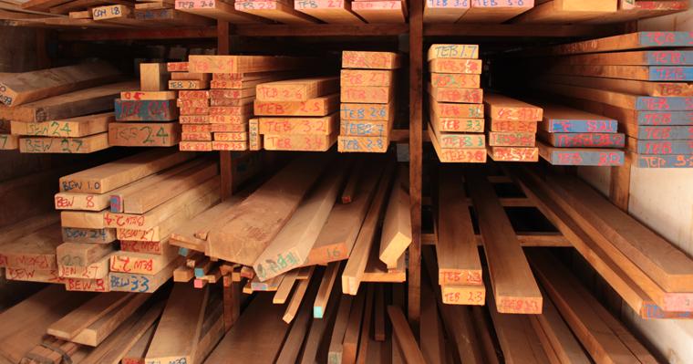 Wood stacks at Anagote Timber