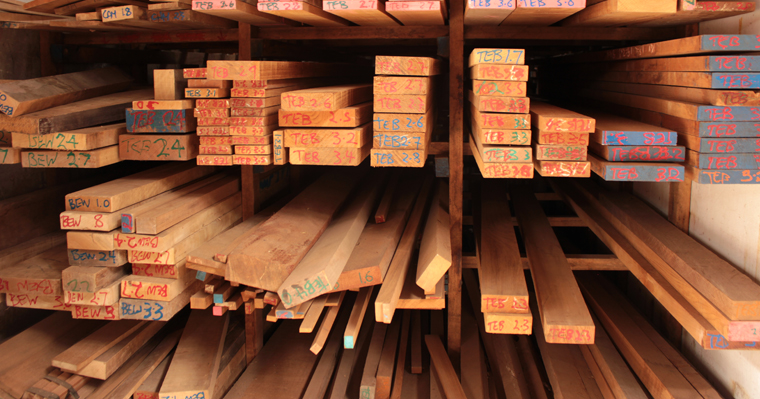 Wood stacks at Anagote Timber